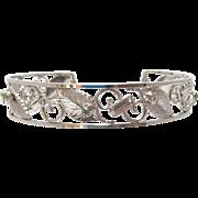 Vintage Cuff Bracelet Signed Krementz Delicate Open Wire Design