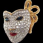 Swarovski Crystal Mardi Gras Mask Brooch Red Enamel Back Swan Logo
