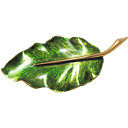 Marcel Boucher Signed Brooch Green Enamel Leaf