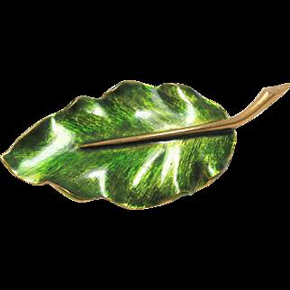Marcel Boucher Signed Brooch Green Enamel Leaf