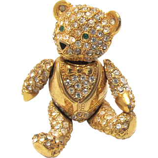 Joan Rivers Articulated Tuxedo Teddy Bear Brooch with Pave Rhinestones