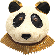 L Razza 3 D Panda Brooch Figural Plastic Resin Pin