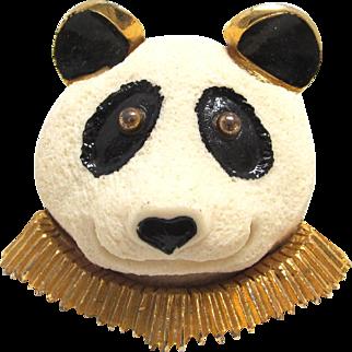 L Razza 3 D Panda Brooch Figural Plastic Resin Pin