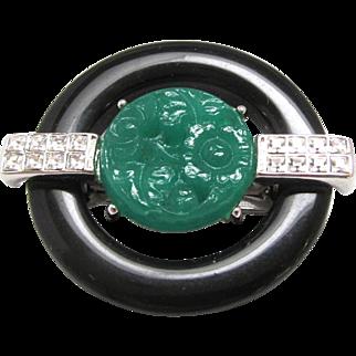 Kenneth Jay Lane KJL Brooch Black and Green Art Deco Style