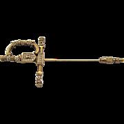 De Nicola Rhinestone Sword Stick Pin