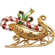 Mylu Christmas Pin Sled with Candy Cane Metallic Red & White Enamel