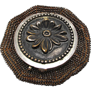 Tam-O-Shanter Cut Steel Bead Coin Purse Daisy Top