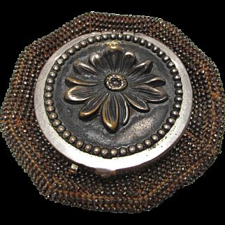 Tam-O-Shanter Cut Steel Bead Coin Purse Daisy Top