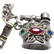 Vintage Charm Bracelet Working Rhinestone Cigarette Lighter