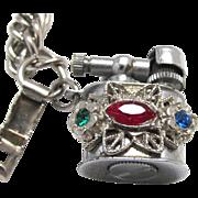 Vintage Charm Bracelet Working Rhinestone Cigarette Lighter