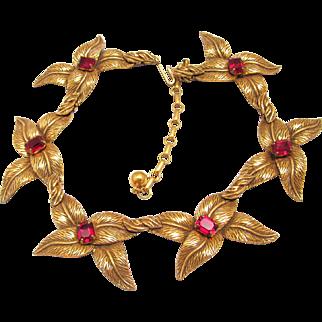 Barclay Red Rhinestone Necklace Choker