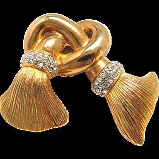 Signed Craft Brooch Knot with Rhinestone Tassels