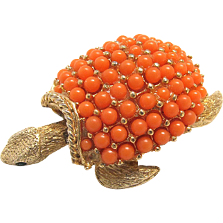 Vintage Articulated Turtle Brooch Coral Color Beaded Shell
