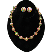 Wedding Cake Necklace Graduated Green  and Pink Beads w Matching Clip Earrings