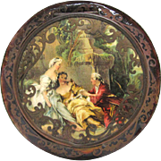 Art Deco French Celluloid Scrollwork Powder Compact Courting Scene