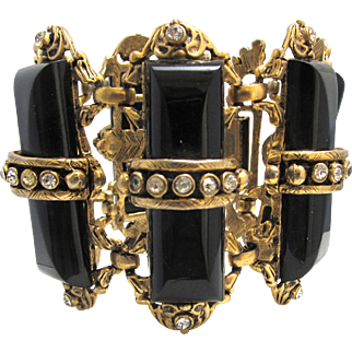 1950s Wide Black Thermoset Bracelet with Clear Rhinestones