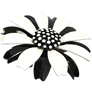 Crown Trifari Mod Enamel Brooch Black and White 1960s