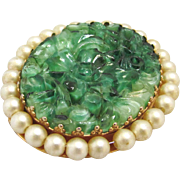 Napier Brooch Peking Glass Imitation Pearls Two Sided Locket