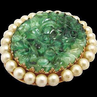 Napier Brooch Peking Glass Imitation Pearls Two Sided Locket