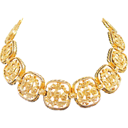 Bergere Choker Necklace Large Gold Tone Links Signed