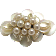 MOP Brooch Three Tier Mother of Pearl Cluster Made in France