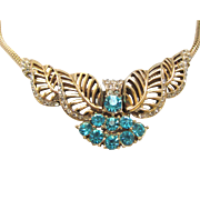 Rhinestone Choker Necklace Blue and White with Snake Chain