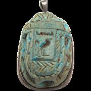 Egyptian Revival Scarab Pendant Blue Sacred Ibis Carved Hieroglyphics Cartouche