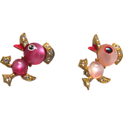 Pair Duck Scatter Pins Pink Plastic Moonglow Cabochons Rhinestones