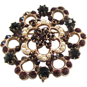 Victorian Revival Brooch Pendant Faux Garnet and Imitation Pearl