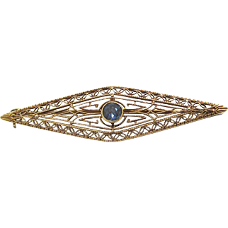 14 K Gold Edwardian Filigree Brooch with Sapphire by Taylor Jewelry Co
