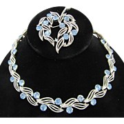Lisner Rhinestone Choker and Brooch Set Blue and Silver