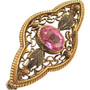 10 K Gold Victorian Filigree Brooch with Pink Paste Stone