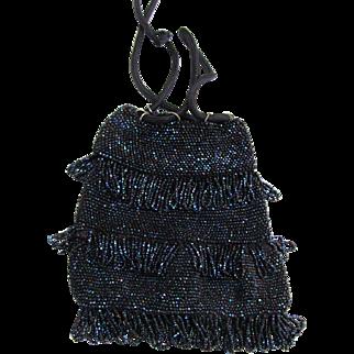 Art Deco Drawstring Flapper Bag Iridescent Midnight Blue Beads