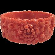 Vintage Bracelet Molded Celluloid Faux Coral Color Chrysanthemum