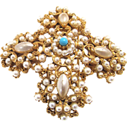 Signed Florenza Brooch Imitation Pearls
