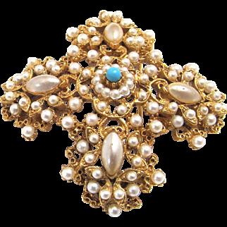 Signed Florenza Brooch Imitation Pearls