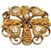 10 K Gold Victorian Shamrock Brooch with Enamel Flowers and Imitation Pearls