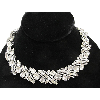 Unsigned Rousseau Rhinestone Choker Necklace Clear 15 Inches