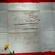 Unique Stampless Letter Augusta,Ga. to New York Oct. of 1837