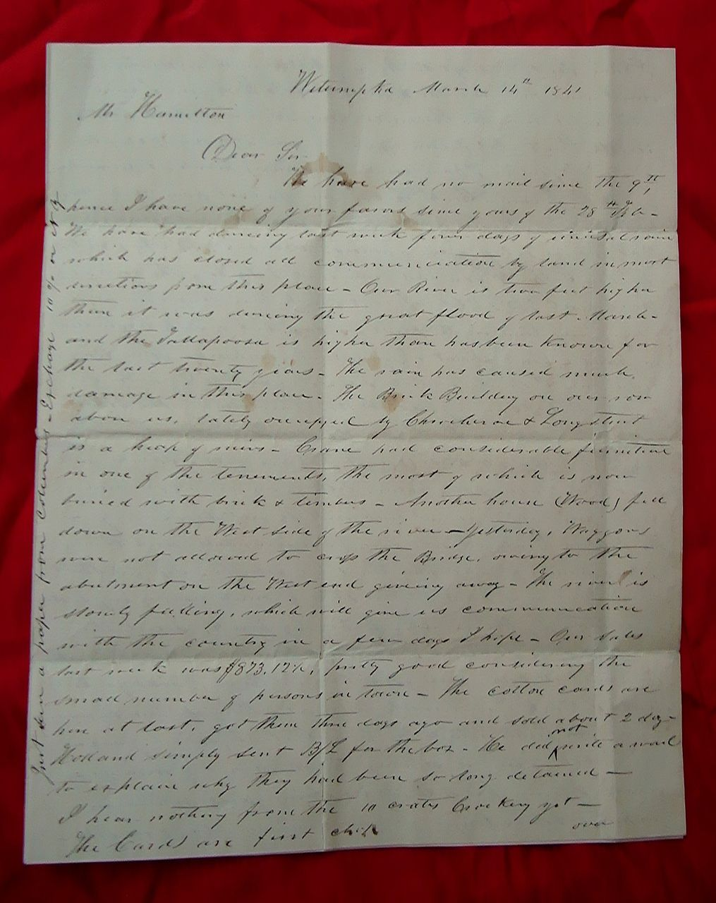 1841 Letter Wetumpka,Alabama Cotton, Flooding of Towns GREAT CONTENT