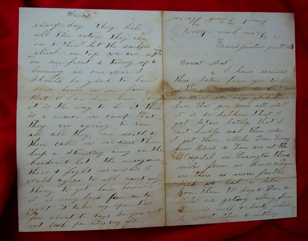 Grand Junction,Ky. Civil War Letter Running Negro's to Cincinnati