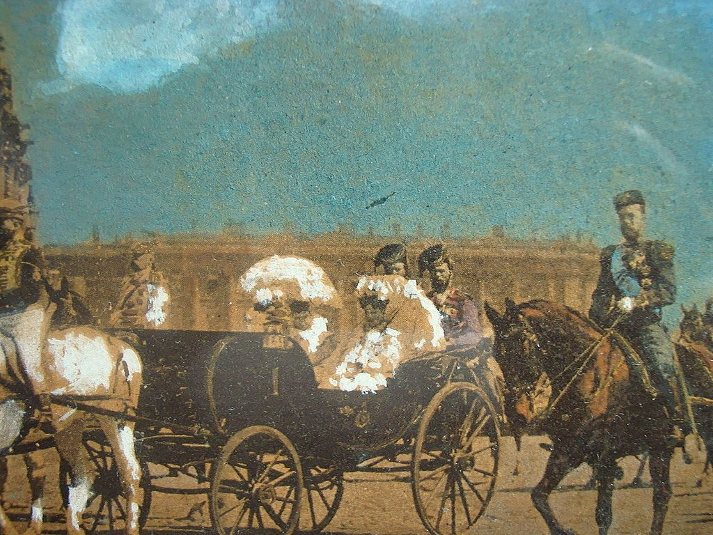 19th Century  Russian Royal Painting of Czarina & Daughter in St. Petersburg