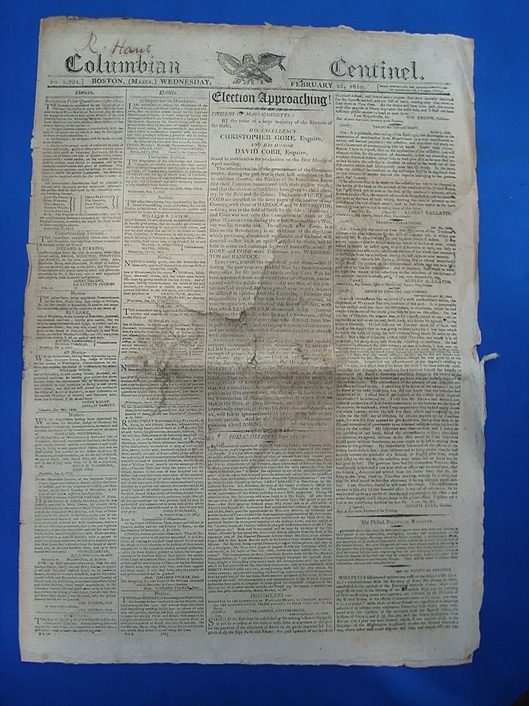 1810 Columbia Centinel Newspaper Election of Christopher Gore & David Cobb