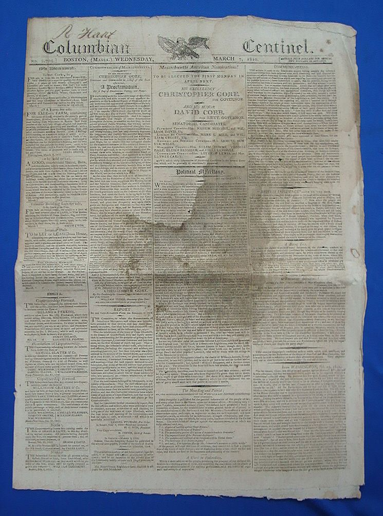 March 7th 1810 Columbian Centinel Newspaper; Napoleon Bonaparte Declares War on the United States !