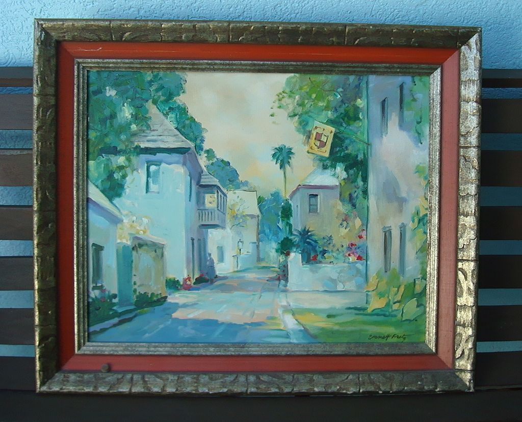 Original Emmet Fritz Oil Painting Aviles Street St Augustine Florida From Deadpeoplesthings On