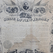 Civil War New Jersey Service Certificate for William C.Dickerson 12th Regiment NJV