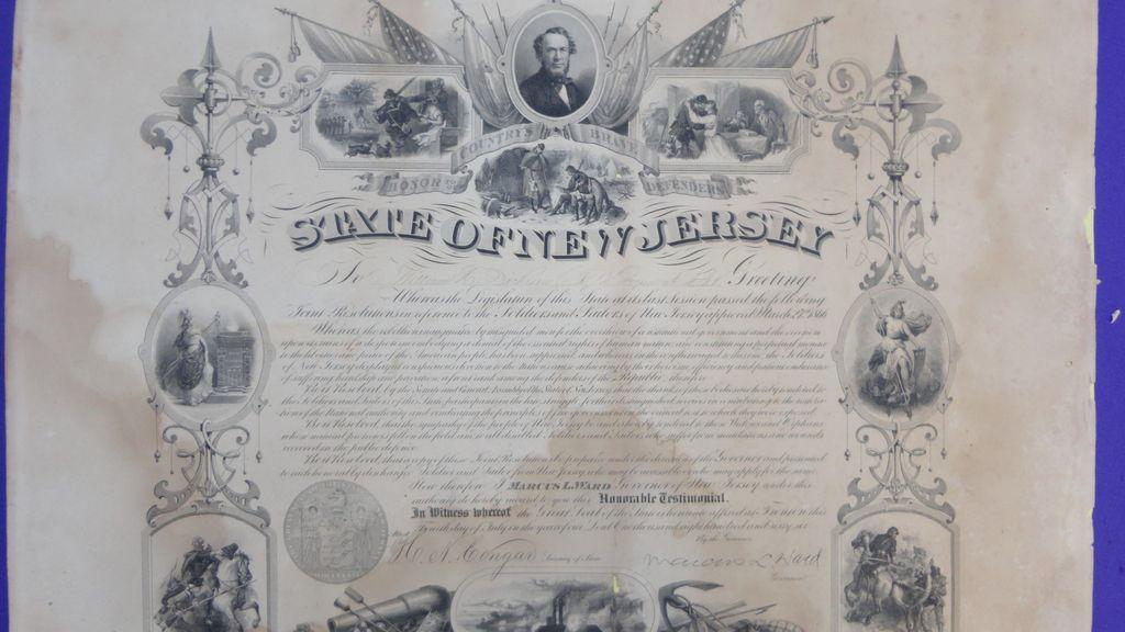 Civil War New Jersey Service Certificate for William C ...