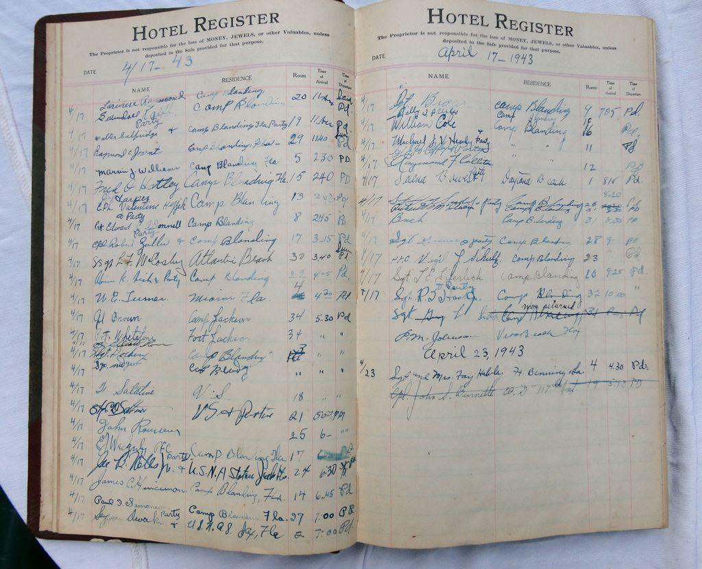 Camp Blanding Florida World War 2 Bayview Hotel Soldier G.I.Registry