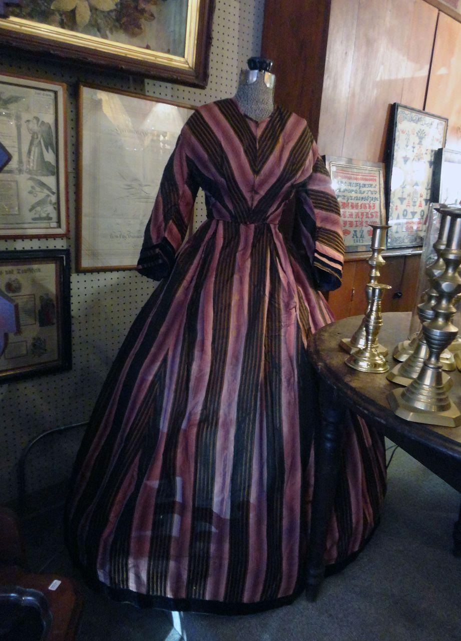 Stunning 1860's Civil War Black & Lavender Ladies Dress