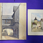 Two 19th century Watercolors of the Town of Filz,Germany